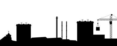 Das Schattenbild der Stadt. Stockfotografie