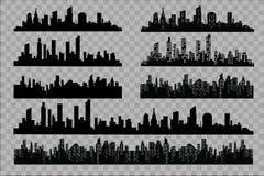 Das Schattenbild der Stadt in einer flachen Art Moderne städtische Landschaft Auch im corel abgehobenen Betrag Stockfotos
