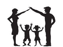 Das Schattenbild des Familiensymbols Lizenzfreie Stockfotografie