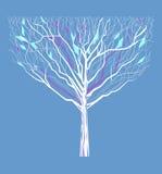Das Schattenbild eines Baums mit dem ersten verlässt Lizenzfreie Stockfotografie