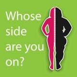 Das Schattenbild eines dünnen und fetten Mädchens auf einem grünen Hintergrund lizenzfreie abbildung