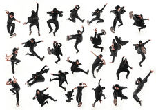 Das Schattenbild von einem männlichen Breakdancertanzen des Hip-Hop auf weißem Hintergrund Stockfotografie