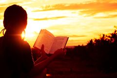 Das Schattenbildfrauensitzen las ein Buch auf Feiertag stockfoto