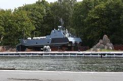 Das Schiff auf Reparatur im Seehafenwasserstand Baltiysk bebauen 1946 Lizenzfreies Stockbild