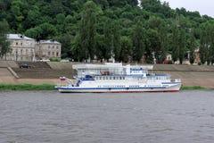 Das Schiff Volgar-NN auf dem Fluss Oka Stockbilder