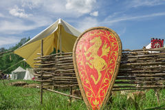 Das Schild des roten Ritters mit Familienwappen auf Gras Stockbild