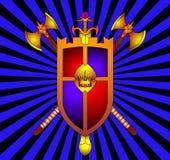 Das Schild mit Korona und Waffe Stockbild