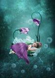 Das schlafende kleine Mädchen Lizenzfreie Stockfotos