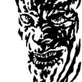 Das schlechte Gesicht der Mörderwahnsinnige, die sein Opfer aufpassen Auch im corel abgehobenen Betrag Stockbild
