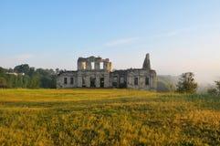 Das Schloss Die Ruinen des Schlosses auf dem Rasen Die ruinierte Festung ukraine Festung Das ruinierte Schloss Historisches Gebäu Lizenzfreies Stockfoto