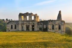 Das Schloss Die Ruinen des Schlosses auf dem Rasen Die ruinierte Festung ukraine Festung Das ruinierte Schloss Historisches Gebäu lizenzfreie stockfotografie