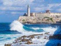 Das Schloss und der Leuchtturm von EL Morro in Havana Stockbild