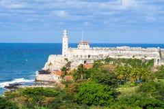 Das Schloss und der Leuchtturm von EL Morro in Havana Lizenzfreies Stockbild