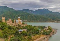 Das Schloss und die fortess von Ananuri, Georgia lizenzfreie stockfotos