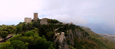 Das Schloss von Erice Stockfotos