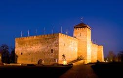 Das Schloss von Gyula in der Dämmerung Stockbilder
