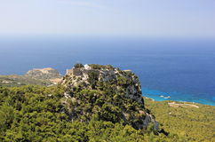 Das Schloss von Monolithos Rhodos, Griechenland Stockbilder