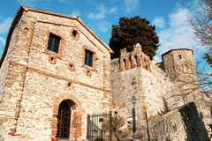 Das Schloss von Montebello di Torriana Stockfotografie