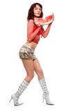 Das schöne Mädchen isst eine Wassermelone Lizenzfreie Stockbilder