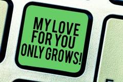 Das Schreiben der Anmerkung, die meine Liebe für Sie wächst zeigt nur Geschäftsfoto, das die roanalysistic Gefühle ausdrückend gu stockfoto