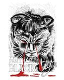 Das Schreien des schwarzen Tiger- oder Panthom-Welpen ist der gezeichnete Blutbleistiftanschlag Lizenzfreie Stockfotografie