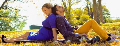 Das schwangere Paar der Junge, das auf Gelb sitzt, verlässt im Park Lizenzfreie Stockfotografie