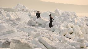 Das schwarze Modell auf dem Eis stock footage
