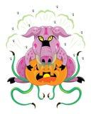 Das Schwein isst orange Kürbis lizenzfreie stockbilder