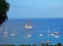 Das Segelschiff seacloud, das Admiralitäts-Bucht in den Windwardinseln besucht Lizenzfreie Stockbilder