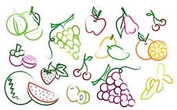 Das Set der Fruchtzeichnungsikonen Stockfoto