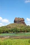 Das Sigiriya (der Felsen des Löwes) ist eine alte Felsenfestung Stockbild