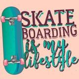 Das Skateboard fahren ist mein liferstyle stock abbildung