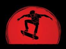 Das Skateboardfahrerspringen und fährt Aktion Skateboard Lizenzfreies Stockfoto