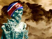 Das Skelett in der Flagge von Nordkorea auf dem Hintergrund der Explosion lizenzfreie stockbilder