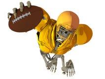 Das Skelett in der Rolle des Spielers im amerikanischen Fußball Lizenzfreie Stockbilder
