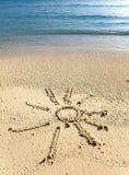 Das sonnen- Bild auf Sand Lizenzfreie Stockbilder