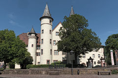 Das Spessartmuseum im Schloss an Hauptleitung Lohr morgens, Deutschland Lizenzfreie Stockfotografie