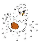 Das Spiel der Punkte, die Henne stock abbildung