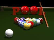 Das Spiel von Billard Stockfoto