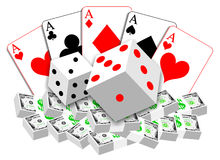 Das Spielen der Illustration der Karten, würfelt und Geld Lizenzfreies Stockfoto
