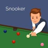 Das Spielerbillard Bemannen Sie Ziel, um eine Auswirkung auf den Ball zu machen Das Spiel des Snookers Lizenzfreie Stockfotos