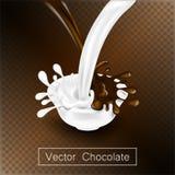 Das Spritzen und Rauschschokoladen- und -milchflüssigkeit für Designgebrauch lokalisierten Illustration 3d Lizenzfreies Stockfoto