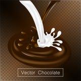 Das Spritzen und Rauschschokoladen- und -milchflüssigkeit für Designgebrauch lokalisierten Illustration 3d stock abbildung