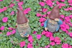 das stehende Blumenbett des lustigen Gartenzwergs Lizenzfreies Stockfoto