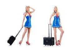 Das Stewardess mit Gep?ck auf Wei? lizenzfreies stockfoto