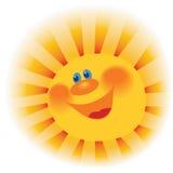 Das stilisierte Bild einer lächelnden Sonne Stockfotos