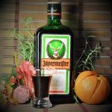 Das Stillleben des neuen Jahres mit einer Flasche von 'Jägermeister ' lizenzfreies stockfoto
