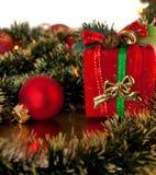 Das Stillleben von den Weihnachtsdekorationen Stockbilder