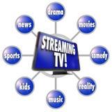 Das Strömen Fernsehzufriedener Unterhaltung programmiert Film-Sport HDTV Stockfoto