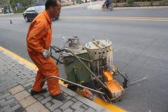 Das Straßenpersonal ist Abteilung der Verkehrslinie in SHENZHEN, CHINA Lizenzfreie Stockfotos